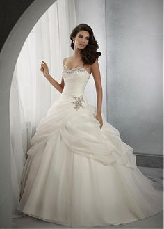 Buy discount Glamorous Organza Satin Sweetheart Neckline Dropped Waistline Ball Gown Wedding Dress at Dressilyme.com