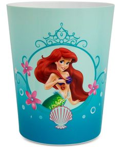 So Much Fun Under The Sea And Now Right Next To Your Bathroom Sink This Wastebasket Features Ariel From Little Mermaid With Flowers A
