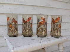1970's Drinking Glasses ... Orange Butterfly Smoked