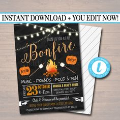 Fall Harvest Bonfire Invitation, Family Picnic, BBQ Invite, EDITABLE Printable Invitation Chili Cookoff, S'mores Pumpkin Carving Party Party - Modern Printable Invitations, Party Invitations, Fall Halloween, Halloween Party, Halloween Games, Family Picnic Foods, Chili Party, Fall Birthday Parties, Bonfire Birthday