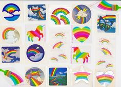 Vintage Retro 80s Assorted Rainbows Stickers Don't know why rainbows and unicorns were popular then.