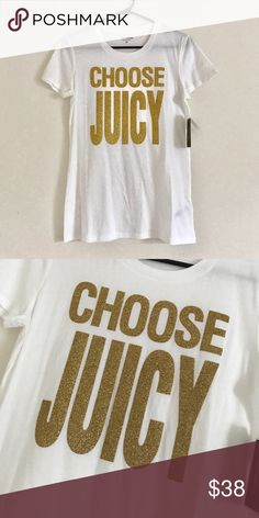 NWT Juicy Couture Top NEW with tags Juicy Couture shirt. Gold glitter lettering. Size M 100% cotton Juicy Couture Tops Tees - Short Sleeve
