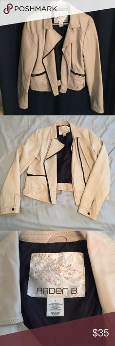 Cream leather style jacket Women's cream leather style jacket size L, very nice and very warm😊 Arden B Jackets & Coats Puffers