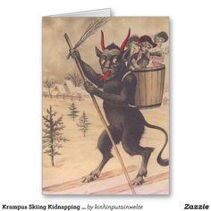 Krampus Skiing Kidnapping Women Greeting Cards