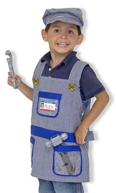 Kids' Train Engineer Costume Set: Don't let the train leave the station without fully equipping your little engineer-in-training! Wearing this machine-washable overall smock and hat, complete with the requisite hammer and wrench, train schedule, walkie-talkie with sound effects and a name tag, your child is ready for adventures on the rails.