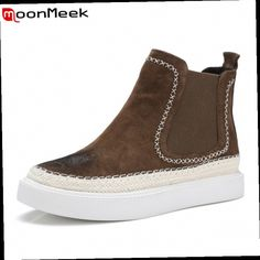 47.32$  Buy now - http://aliz36.worldwells.pw/go.php?t=32716764976 - MoonMeek new fashion leisure flat boots in spring autumn hot sale high quality cow suede leather women ankle boots for party 47.32$