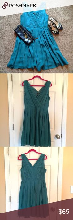 "🍀 NWT Talbots gorgeous silk dress 14P 👗💕 Really ""flowy"" and beautiful.  More green than blue. Would be perfect for a special occasion or a night out!  Dress is 100% silk, lining is 100 % polyester. 😍 Talbots Dresses"