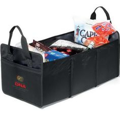 """Grab the snacks and drinks and fill up this cargo box and cooler! Made of polyester, this 14"""" x 12"""" x 26"""" product features large storage compartments with a spacious cooler compartment, grab handles and front slash pocket. The zippered cooler comes with PVC-free thermo lining and 30 can cooler capacity. It's collapsible for easy storage and uses an elastic bungee to secure when not in use. Add a logo to make this a sought-after promotional gift!"""