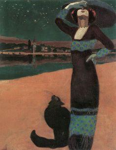 FARAGÓ GÉZA (1877-1928) Hungarian Artist. Woman with a Cat, 1913