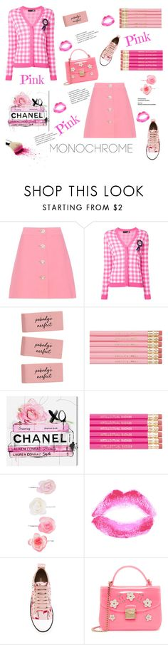 """""""Monochrome"""" by elarmariodelcamaleon ❤ liked on Polyvore featuring Miu Miu, Love Moschino, Oliver Gal Artist Co., Accessorize, Topshop, RED Valentino and Furla"""