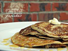 Clean Eating Pancakes:  1 banana, 1 large eggs, dash of cinnamon, 1/2 tsp vanilla, 1 tbsp almond butter (optional)  Directions:Mix all ingredients in a blender & make into pancakes