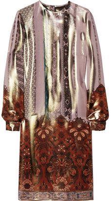 ShopStyle: Etro Metallic printed silk-blend dress