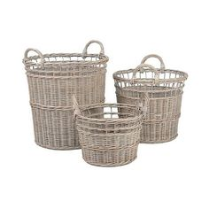 Anita Wicker Round Baskets - Set of , Light Grey ($80) ❤ liked on Polyvore featuring home, home decor, small item storage, light grey, woven basket set, wicker basket set, handmade baskets, round wicker basket and woven basket