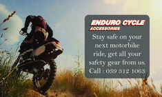 Stay safe on your next motorbike ride.  Get all your safety gear, accessories and more from us at Enduro Cycles.  We offer a wide range of motorbike parts and accessories, ranging from handle bars, cleaning supplies all the way to youth goggles and boots, get all you need in one visit.  Even if you are completely aware and an experienced rider, all it takes is one other driver to make a mistake, don't take any chances with your safety!  Phone: 039 312 1063   Email: Info@EnduroCycles.co.za… Motorbike Parts, Riding Gear, Brake Pads, Stay Safe, Motorbikes, Cleaning Supplies, Safety, Security Guard, Cleaning Agent