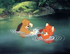 """The Fox And The Hound: The last Disney animated feature to simply end with a """"The End; Walt Disney Productions"""" credit, as with all previous Disney animated films after Alice in Wonderland. Disney Magic, Walt Disney, Disney Pixar, Disney Amor, Disney Animation, Disney And Dreamworks, Punk Disney, Animation Movies, Disney Cartoons"""