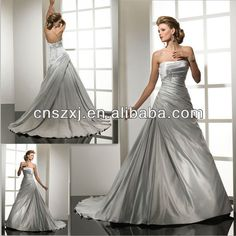 Aa116 Strapless Satin Frosted Silver Wedding Dress - Buy Wedding Dress,Bridal Dress,Wedding Gown Product on Alibaba.com