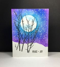 Penny Black: Into the Sky, PB, winter, by beesmom - at Splitcoaststampers Art Lessons, Christmas Paintings, Art Painting, Watercolor Cards, Watercolor Christmas Cards, Art, Card Art, Winter Art