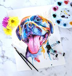 Colorful Pit Bull Watercolor Art  Rainbow Print of my