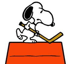 Snoopy at Home Playing Hockey