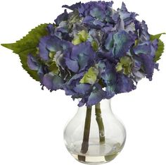 Asstd National Brand Nearly Natural Blooming Hydrangea with Vase Arrangement