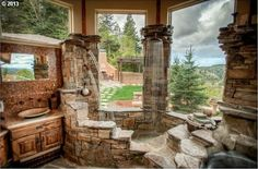 Rustic Master Bathroom - Found on Zillow Digs. That is awesome! (Needs to be one way glass though!)