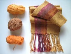 Mustard Golden Handwoven Scarf with Purple and Brown Highlights. via Etsy.