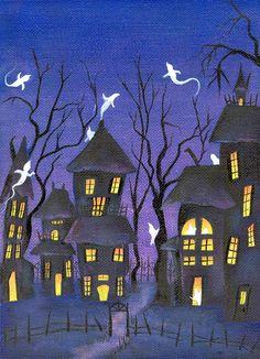 Halloween Painting Haunted Houses Ghost by BethStephensArt on Etsy