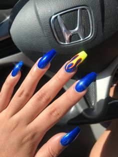 Newest Coffin Acrylic Nail Art Designs 2019 Glitter coffin nails; short, medium and long coffin acrylic nails; Colored Acrylic Nails, Long Acrylic Nails, Long Nails, Short Nails, Coffin Nails Glitter, Coffin Acrylics, Coffin Nails Long, Acrylic Art, Blue Nail Designs