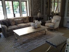 WEST KNOLL Bergere Chair and Chinese Coffee Table (silver leaf finish) in the salon of the 2014 Pasadena Showcase.