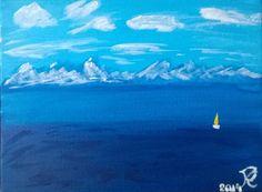 Sárga vitorla kék tengerben. akril, vászon