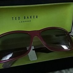 """Flawless Ted Baker """"ambrosia"""" sunglasses in case new with sticker still  square frames not super dark lense  wine colored frames  black case with yellow inside $129 Ted Baker Accessories Sunglasses"""
