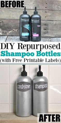 Here's an easy update for your bath! Check out these Repurposed Shampoo Bottles with Free Printable Labels using Tresemme shampoo bottles. Repurpose Tresemme shampoo bottles with this hack! Paint Tresemme shampoo bottles for an elegant look! DIY Tresemme bottles