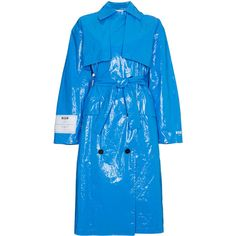 MSGM oversized PVC trench coat (58.365 RUB) ❤ liked on Polyvore featuring outerwear, coats, blue, blue trench coat, blue coat, trench coats, msgm and oversized coats