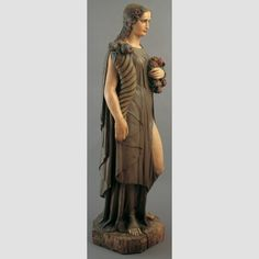 """Allegorical Figure: Flora Artist unidentified Location: Probably New York City, New York, United States Date: 1840–1880 Materials: Paint on wood Dimensions: 53 1/2 × 14 3/4 × 17 1/2"""" - See more at: http://collection.folkartmuseum.org"""