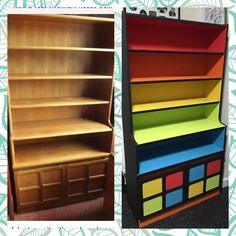 Painted this bookcase to match the drawers I did for the boys bedroom :) before and after