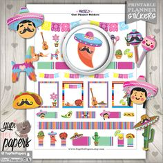 Mexican Planner Stickers by www.YupiYeiPapers.etsy.com