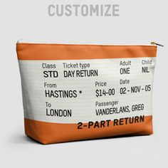 Train Ticket - UK - Pouch Bag Pouch Bag, Backpack Bags, Custom Clutches, Mystery Bag, Train Tickets, Candy Bags, Back To School, School Fun, Day Bag
