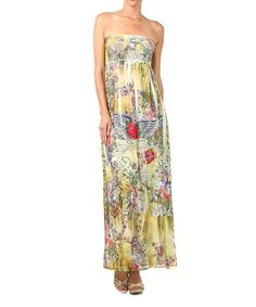 Look at this #zulilyfind! Yellow & Red Sublimation Strapless Maxi Dress by J-MODE #zulilyfinds