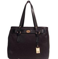 Women's Top-Handle Handbags - Tommy Hilfiger Logo Shopper Tote Bag Handbag Purse Black  Black *** Click image for more details.