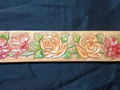 Hand carved and tooled western belt by ToolingAround4U on Etsy