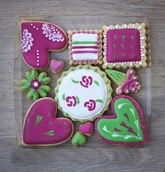 Suzie's Biscuits - Heart sugar cookies.  Love the colors.