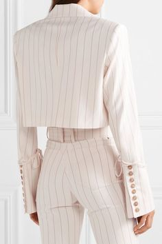 Orseund Iris - Box cropped pinstriped wool-blend blazer - Outfits for Work Look Fashion, High Fashion, Womens Fashion, Fashion Design, Lolita Fashion, Fashion Fashion, Retro Fashion, Vintage Fashion, Fashion Tips