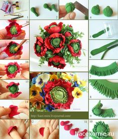 Polymer Clay flower tutorial – I think this can be made from fondant or gum paste to decorate a cake wanna do this sooo bad Fondant Flower Tutorial, Fondant Flowers, Sugar Flowers, Paper Flowers, Ring Tutorial, Polymer Clay Projects, Polymer Clay Art, Decoration Patisserie, Gum Paste Flowers