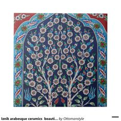 Iznik arabesque ceramics  beautiful Ottoman Small Square Tile