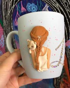 Polymer Clay Disney, Polymer Clay Crafts, Diy Clay, Diy Christmas Mugs, Christmas Decor, Clay Magnets, Mug Crafts, Spoon Art, Clay Mugs