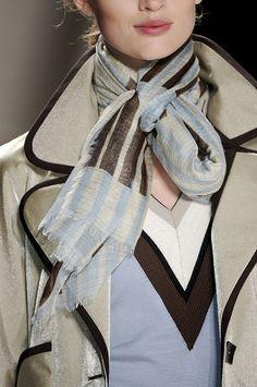 Carolina Herrera. Four nice colors together - inspiration - cool beige, corn flower blue, brown, white. Lines. Edging on coat. Stylish.