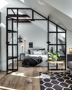 1001 ideas for the modern top floor apartment - attic apartment set up examples black white design bed bedroom - : ? 1001 ideas for the modern top floor apartment - attic apartment set up examples black white design bed bedroom - House Design, Interior, Home, Home Bedroom, Modern Studio Apartment Ideas, Industrial Interior Design, Bedroom Design, House Interior, Interior Design