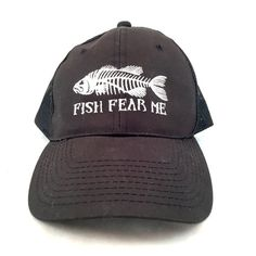 Vintage Black Fishing Trucker Style Cap, Fish Fear Me Black Snapback Hat, Black and White Embroidered Patch Hat, Mesh Back Hat, Fisherman