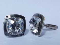 Unique Large Diamond Cut  Rock Crystal Cuff Links in by Miltiadis
