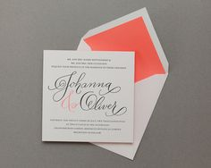 grey and neon peach, love the typography. Love the colors.